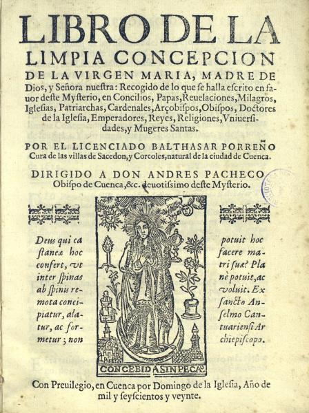 Libro de la limpia concepción de la Virgen...